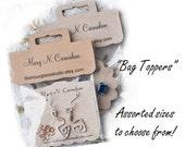 Bag Topper,  Custom Bag Topper, 056  Pruduct Packaging, Cello Bag, Personalized Bag Topper,  Fold Over Card, Packaging Tags, Bag Holder