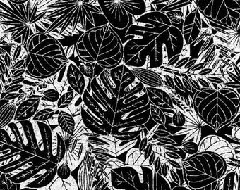 Reversible Quilting Leaf Fabric Henry Glass Bohemian Bold Collection Black Tropical in Floral 2305-99