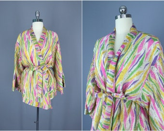 Kimono / Silk Kimono / Silk Robe / Kimono Cardigan / Kimono Jacket / Wedding lingerie / Vintage Sari / Boho Kmono / Art Deco / 9001328