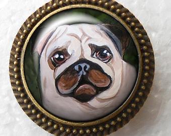 Fawn Pug Ring ~ Original Art ~ Pug Jewelry ~ December Birthday ~ Pug Owner Gift ~ Valentine Gift