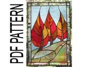 PDF Pattern for Stained Glass - Flaming September FleetingStillness Original Design