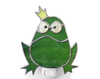 Frog Prince Night Light Stained Glass Green Nursery Night Light Grumpy Frog Handmade Nightlight