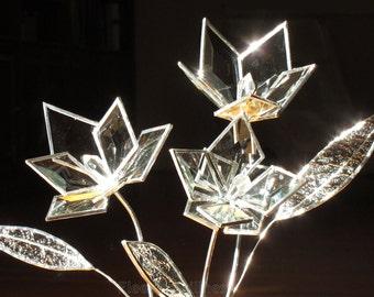 Glass Flower Bouquet Bevel Stained Glass Flower Wedding Proposal 3D Love Handmade