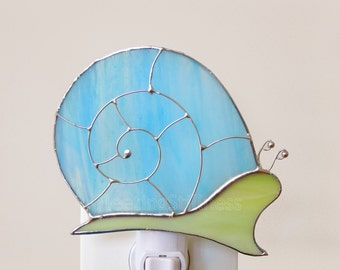 Blue Snail Stained Glass Night Light Nightlight Pastel Blue Green Handmade OOAK