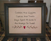 UNFRAMED Primitive Sampler Stitchery Picture Cuddles and Giggles Cookies Treats Days Spent at GiGi's are always so sweet gigi wvluckygirl