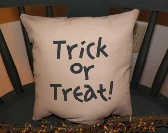 UNSTUFFED Primitive Pillow COVER Halloween Country Home Decor Fall Decoration Trick Or Treat Painted Tuck  Black Tan Stenciilled wvluckygirl