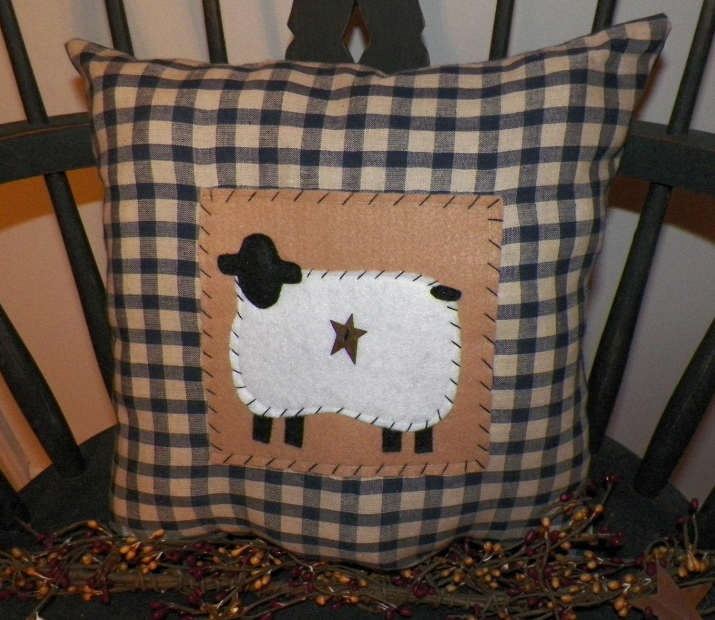 UNSTUFFED Primitive Pillow Sheep Country Cushion Home Decor