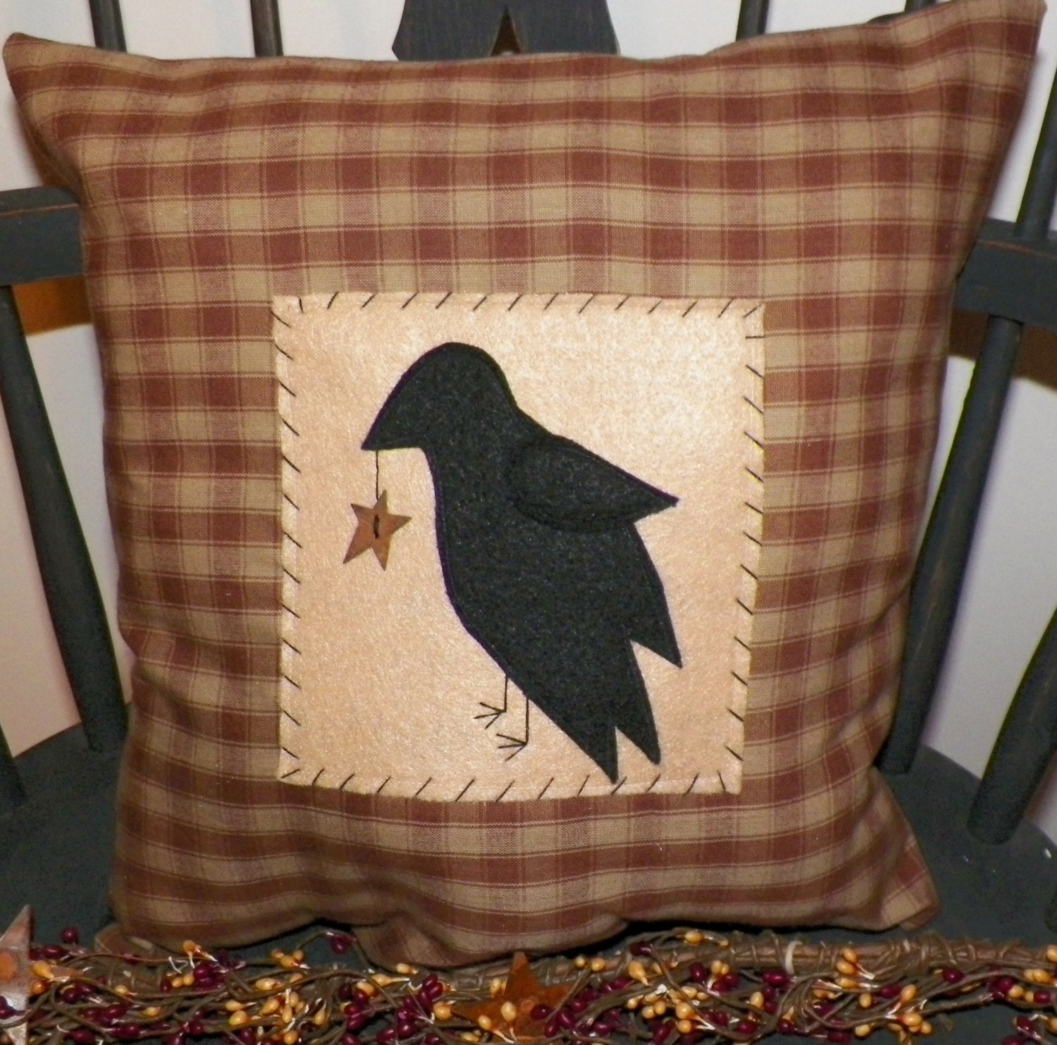 Decorative Primitive Pillows : UNSTUFFED Primitive Crow Pillow Cover Decor Country by wvluckygirl