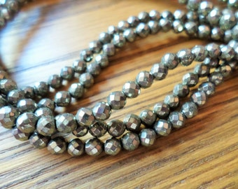 Faceted Pyrite Rounds 4mm Full Strand(Item Number FP4MM)
