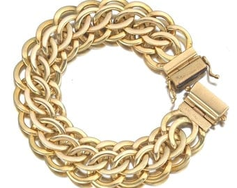14K Yellow Gold Triple Loop Link Bracelet with Slide In Clasp & 2 Safety Catches