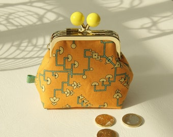 Golden metal frame coin purse/ yellow bobbles /Downton Abbey Egyptian Collection/ turquoise yellow signs on pale orange