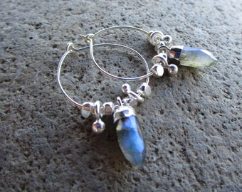 Sterling Hoop Earrings Crystal Labradorite Gemstone Point Small Ear Hoops
