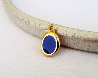 Gold Plated with Blue Enamel Oval Charm Pendant, Tiny Charm, Small Charm, Gold Metal 15x10mm - 1 piece