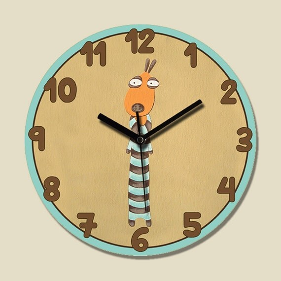 Dog 39 S Round Wall Clock For Kids Bedroom Square Clock By Pituda