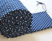 Navy and White Polka Dots Bumper with Navy Ties- MADE TO ORDER