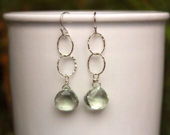 Green Amethyst Earrings, dangle Amethyst Earring, Simple Gemstone Earrings, Gemstone, Lightweight, Green Amethyst, Free Shipping