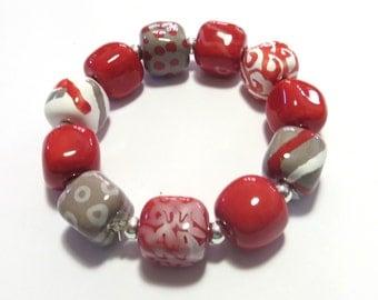 Beaded Bracelet, Kazuri Bangle, Fair Trade, Ceramic Jewellery, Red, White and Grey Bangle