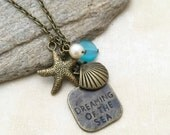 ON SALE, Beach Necklace, Shell Necklace, Friendship Necklace, Gift Idea, Starfish Necklace, Bridesmaid Gift, Charm Necklace