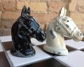 Horse Salt and Pepper Shakers Vintage Black and White Metal Horse Heads Salt and Pepper Shakers If you Love Horses, You'll Love These!