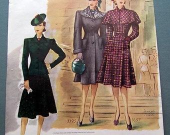 Ladies Fashion Fall Suit Winter Coat ad, 1939, McCall's Magazine, Snazzy hats, Jeam des Vignes Artist,Vintage Magazine Ad, Illustration