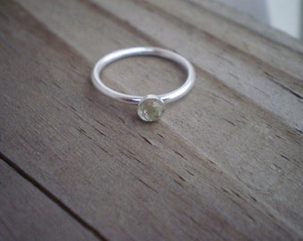 Faceted Green Amethyst Stacking Ring, Sterling Silver, Size 6