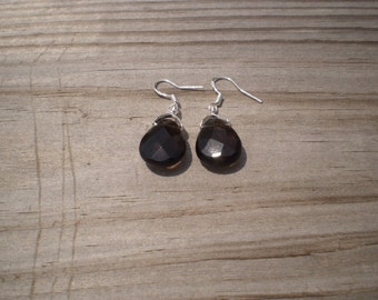 Faceted Smoky Quartz French Hook Earrings