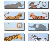 Hand Painted Handle - Children's Custom Hand Painted Safari Jungle Animal Cabinet Drawer Handle Pull for Kids in ANY Size