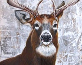 Stag acrylic painting on re-purposed wool panels