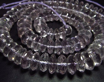 Excellent High Quality Natural  -Brazilian PINK AMETHYST  - Micro Faceted German Cut Faceted Rondelle Beads size 8 - 12 mm - 17 inches Long