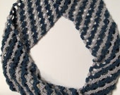Teal and Gray crocheted chevrons infinity scarf