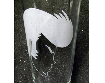 Dandy etched beer glass pint tumbler