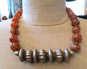 On Sale! Nepalese carnelian melon bead necklace with Tilhari silver bead.