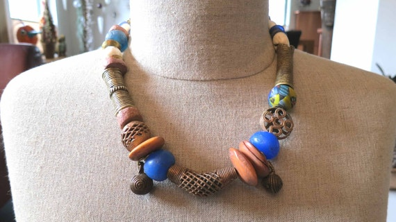 Vintage African bronze, brass and trade beads necklace.