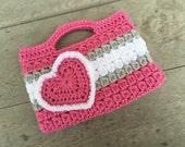 Dark pink, gray, and White Valentines heart Purse Kids Crochet Purse