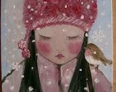 Original Painting Chinese Asian Girl with Bird Robin Winter Snow Naive Folk Art
