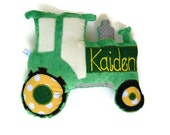 Tractor Pillow, Personalized, Custom PlushTractor Pillow, Farm Themed Baby Nursery, Baby Shower Gift, Custom MADE TO ORDER