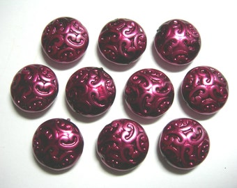 10 Lovely Czech Glass Button BEADS 14mm Burgandy Pearl