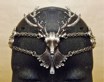 Mens Circlet Antiqued Gold OR Shiny Silver Cernnunos Diadem Crown DEER Stag Men's Pagan Wiccan Mens made to order mens