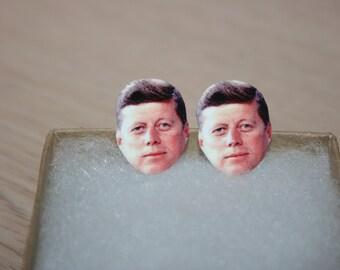 JFK John F Kennedy Post Stud Earrings Democrat Political Jewelry