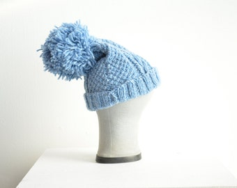 Vintage handknit wool toque with large pompom