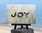 Beach Themed Gift- JOY Beach Word Sentiment on Small Black Wood Easel, graduate gift, beach photo print, coastal decor, upbeat gift, summer
