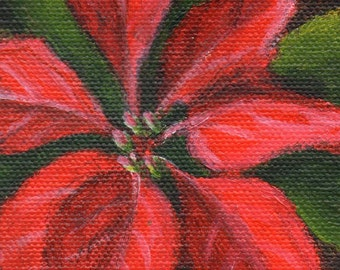 Poinsettia Painting, Christmas Holiday Mini Painting, Red and Green Home Decor