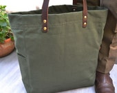 THOMPSON STREET Original design, Hand made, Mens Canvas tote,  Mens shoulder Tote, Green canvas shouldder tote, Womens canvas tote bag,