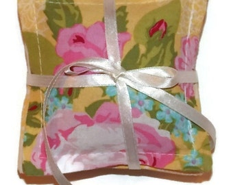 Lavender Sachet, Yellow Pink Flowers Blue Green Stripes, 100 Percent Cotton, Set of Four