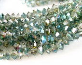 "13"" Saucer 6mm Sahara Green AB bicone rondelle faceted designer crystal glass beads"
