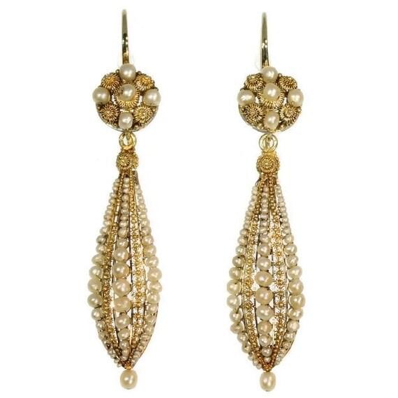 Victorian filigree gold dangle earrings pearls ref.09177-4328