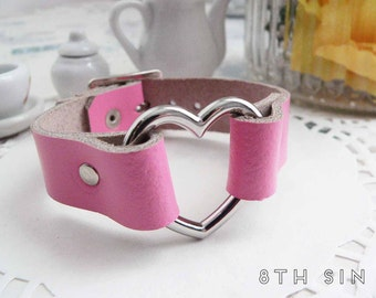 Pink Leather Heart Ring Wristband, Pink Heart Wristband, Leather Heart Wristband, Pink Heart Ring Wristband, Pink Heart Ring Bracelet