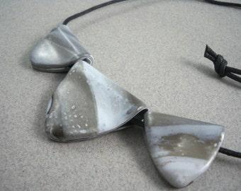 Gray chunky necklace stoney polymer clay