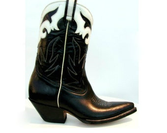 Vintage Cowboy Boots Womens Rancho Loco Black and White Leather Peewee Western Boots Fits Wms US Size 10