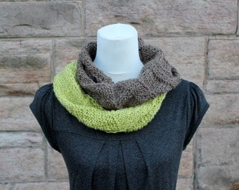 SCARF knitted infinity - the Safari scarf, lightweight, two tone circle scarf, knitwear UK, gift ideas
